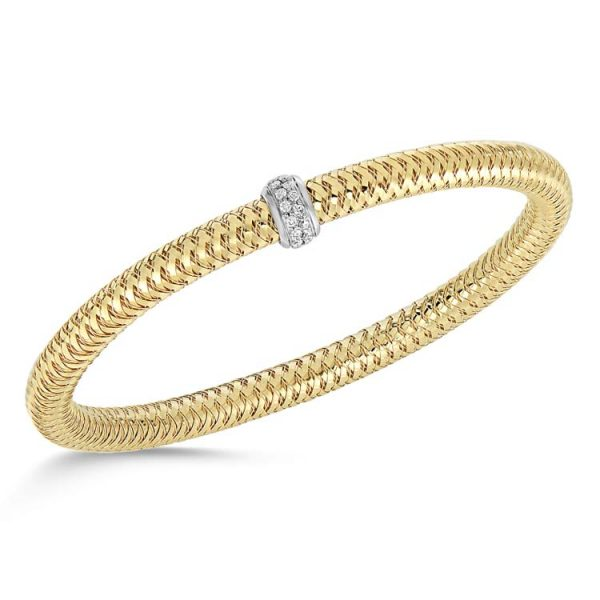 Primavera Yellow Gold Diamond Station Flex Bracelet