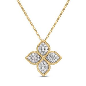 Princess Flower Necklace with Diamonds