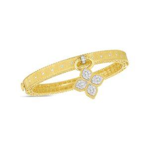 Princess Flower Satin Bangle with Diamond Flower Charm