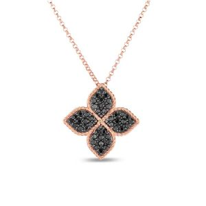Princess Flower Necklace with Black Diamonds