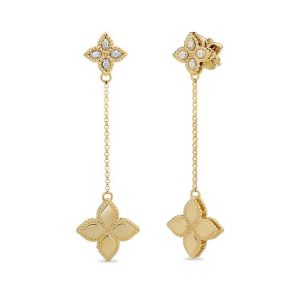 Princess Flower Earrings with Diamonds