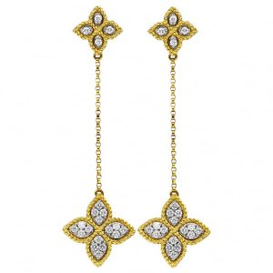 Princess Flower Long Earrings with Diamonds