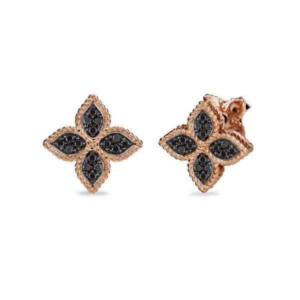 Princess Flower Earrings with Black Diamonds