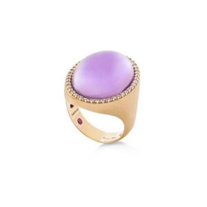 Cocktail Ring with Diamonds, Amethyst & Mother of Pearl
