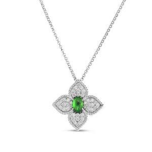 Princess Flower Necklace with Diamonds & Tsavorite
