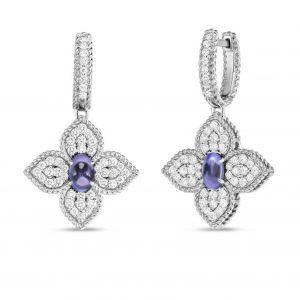 Princess Flower Earrings with Diamonds & Tanzanite