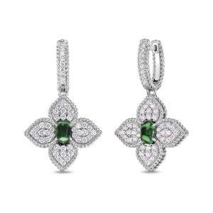 Princess Flower Earrings with Diamonds & Tsavorite