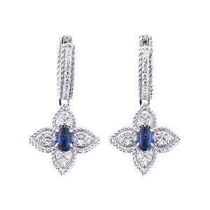 Princess Flower Earrings with Diamonds & Blue Sapphire