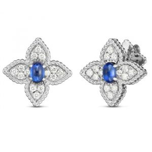 Roberto Coin Princess Flower Earrings with Diamonds & Sapphire