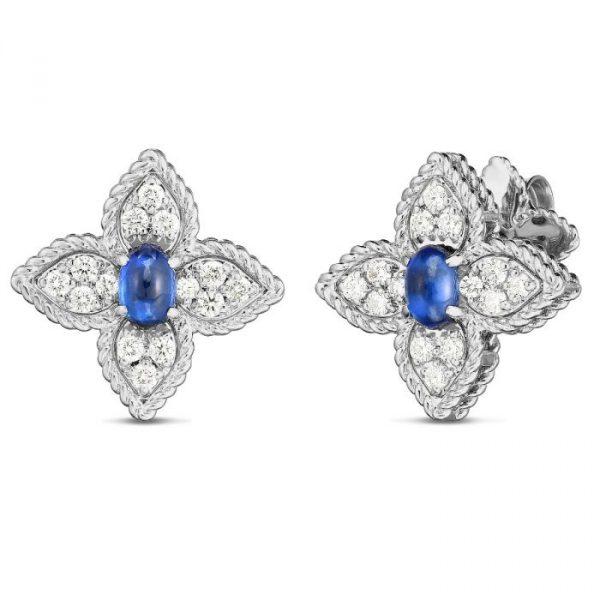 Roberto Coin Princess Flower Earrings with Diamonds & Sapphire