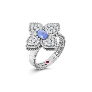 Princess Flower Ring with Diamonds & Tanzanite