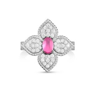 Princess Flower Ring with Diamonds & Rubellite