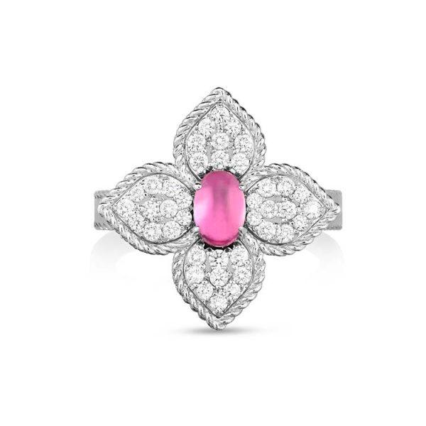Princess Flower Ring with Diamonds & Rubellite