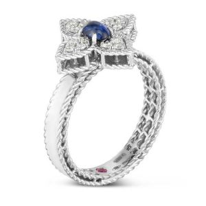 Princess Flower Ring with Diamonds & Blue Sapphire