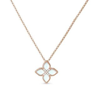 Princess Flower Necklace with Diamonds & Mother of Pearl