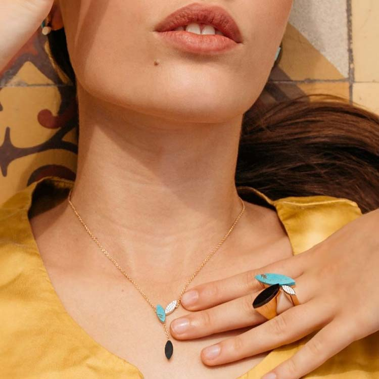Petals Necklace with Diamonds, Turquoise & Mother of Pearl