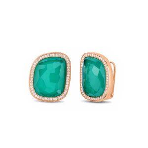 Black Amphibole Jade Earrings with Diamonds & Agate
