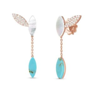 Petals Pending Earrings with Diamonds, Turquoise & Mother of Pearls