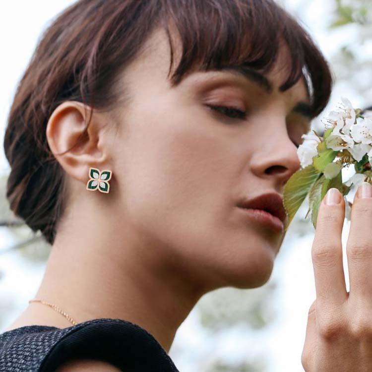 Princess Flower Earrings with Diamonds & Malachite