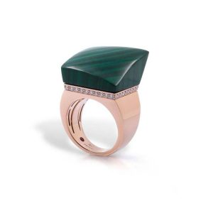 Sauvage Privé Ring with Diamonds & Malachite