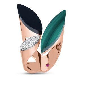 Petals Ring with Diamonds, Black Jade & Malachite