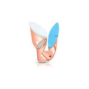 Petals Ring with Diamonds, Turquoise & Mother of Pearl