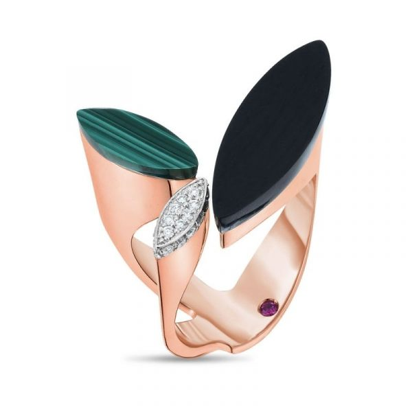 Roberto Coin Petals Ring with Diamonds, Black Jade & Malachite