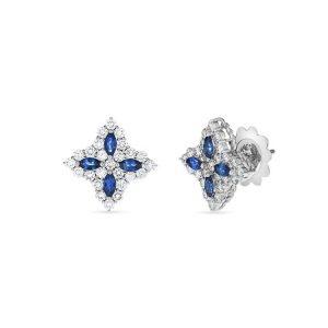 Diamond Princess Earrings with Sapphire and Diamonds