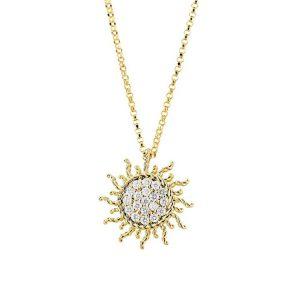 Gold Treasures Sun Necklace with Diamonds