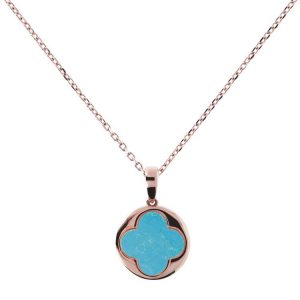 Bronzallure Alba Big Four Leaf Clover Charm Necklace