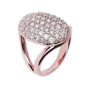 Bronzallure Altissima Oval Open Pave Ring