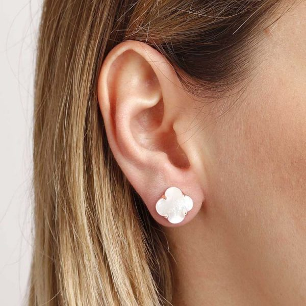 Bronzallure Alba Clover Stud Earrings