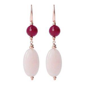 Bronzallure Variegata Pink Dangle Earrings with Gemstones