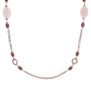 Bronzallure Variegata Pink Stationary Necklace with Gemstones
