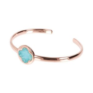 Bronzallure Variegata Four Leaf Clover Open Bangle