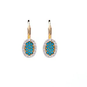 Yellow Gold 9kt Earrings with Cubic Zirconia & Turquoise