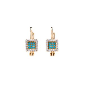 Yellow Gold 9kt Earrings with Turquoise & White Cubic Zirconia