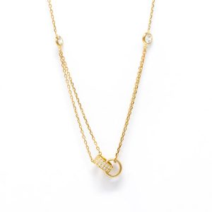 Yellow Gold 9kt Necklace with White Cubic Zirconia