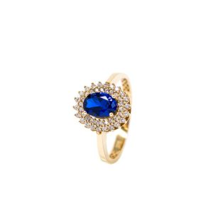 Yellow Gold 9kt Ring with White Cubic Zirconia & Synthetic Blue Sapphire