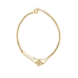 Yellow Gold Bracelet with White Cubic Zirconia