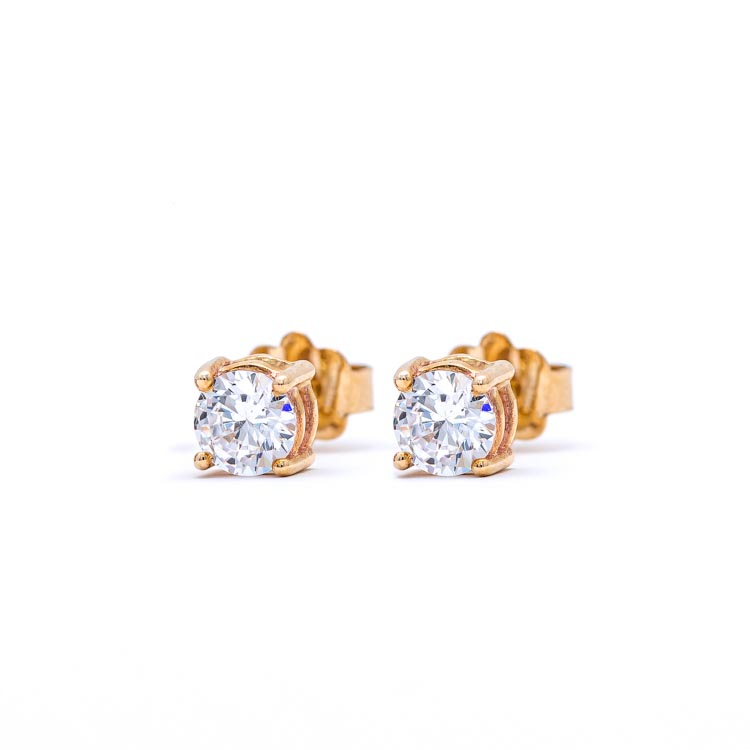 Yellow 9kt Gold Earrings with White Cubic Zirconia