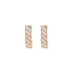 Yellow & White 9kt Gold Earrings with White Cubic Zirconia