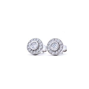 Yellow & White Gold 9kt Earrings with White Cubic Zirconia