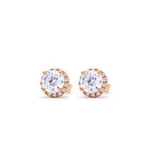 Rose Gold 9kt Earrings with White Cubic Zirconia
