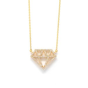 White & Yellow 9kt Gold Necklace with White Cubic Zirconia