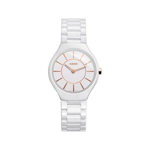 Rado True Thinline White Ceramic Ladies Watch 30mm
