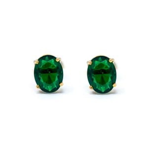 Handmade Yellow Gold 9kt Earrings with Synthetic Emerald