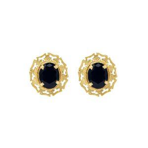 Handmade Yellow Gold 9kt Earrings with Black Zirconia