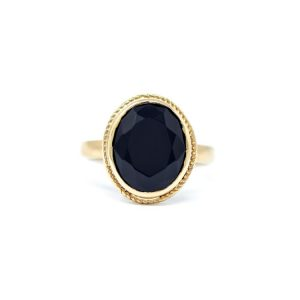 Handmade Yellow Gold 9kt Ring with Black Zirconia