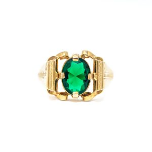 Handmade Yellow Gold 9kt Ring with Synthetic Emerald